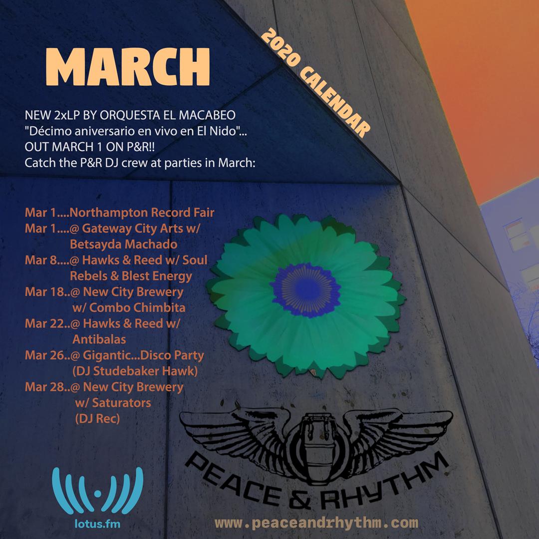 Peace & Rhythm March Calendar